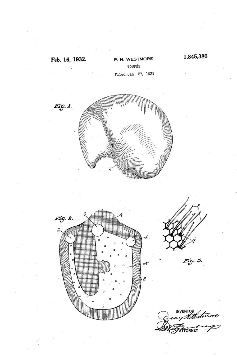 Perc Westmore's toupee patent, USPTO, 1931.