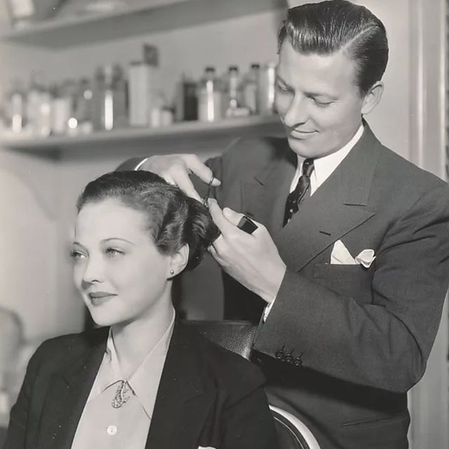 Wally Westmore with Sylvia Sidney. According to Wally, Sylvia was said to have the perfect shaped face. #westmoresofhollywood #wallywestmore #sylviasidney #paramount #hair #faceshapes #pioneersoftheircraft #vintagehollywood #oldhollywoodglamour #beauty #glamour #personality #vintagelook #hollywood #studiosystem #perfection #dapper #1930s #vjntagehairstyling