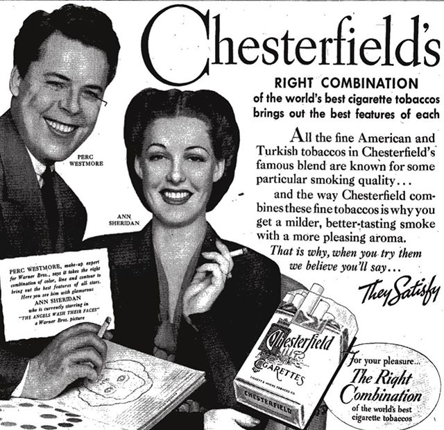 """""""They Satisfy."""" #westmoresofhollywood #percwestmore #annsheridan #chesterfield #tobacco #beauty #hollywoodglamour #vintagehollywood #vintageads"""