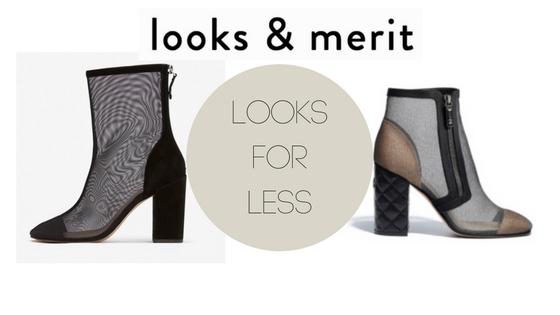 Chanel look alike mesh booties