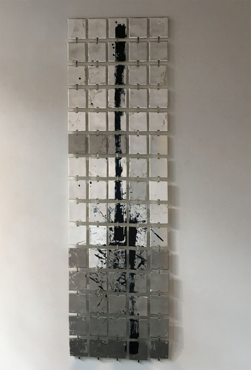 """Moon Walk  : 4"""" acrylic squares, beeswax + pigment, silver leaf, Palladium leaf, fabricated hangers : 72""""h x 21""""w"""