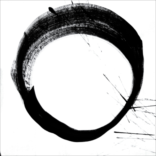 "sumi circle : original ink drawing, scanned into the computer : edition of 25 : pigment ink on archival paper : 22"" x 22"""