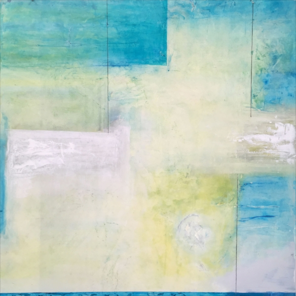 "Playroom  : encaustic, oil paint, coldwax, graphite on rag paper : 40""h x 40""w, framed"