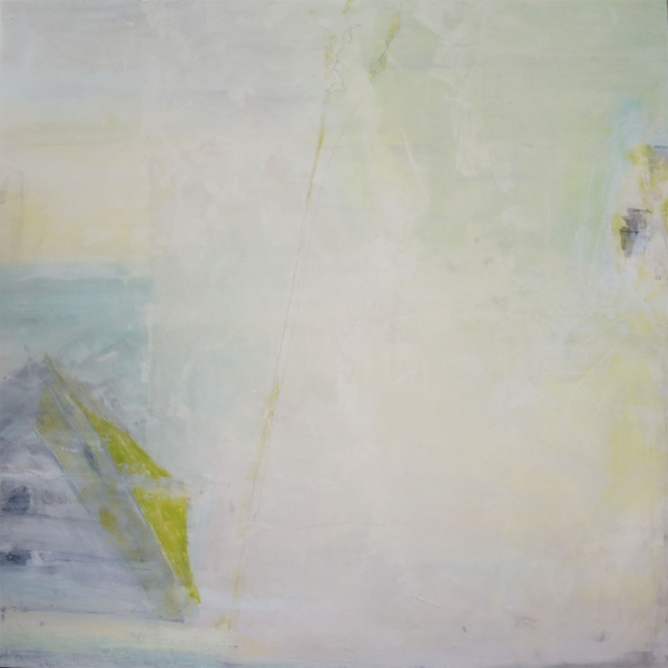 "Masimudo  : encaustic, oil, cold wax on rag paper : 40""h x 40""w, framed"