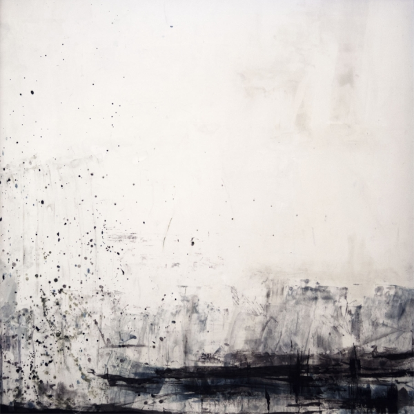 "Snowstorm on the Glacier  : encaustic, oil, coldwax on rag paper : 40""h x 40""w, framed"