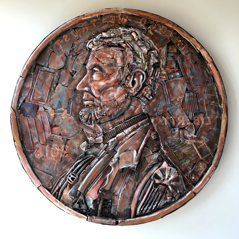Penny #3   ~ Metal, found objects, paint ~ 10x10x1.5ft ~ 2018