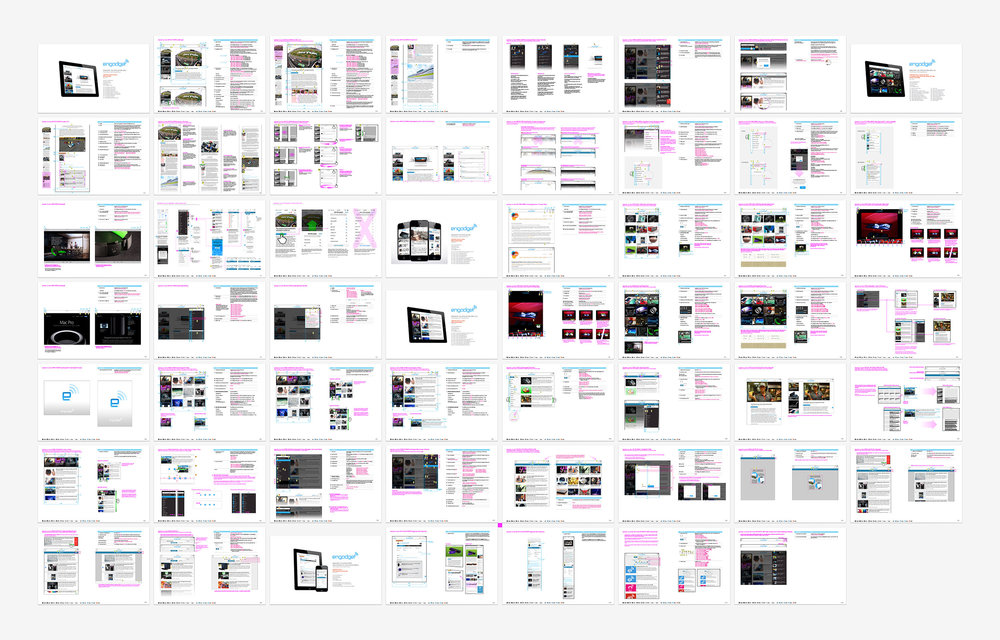 Over 500 separate pieces documentation was meticulously generated and updated to keep multiple developers in multiple locations on the same page. The hybrid documents covered specifications, behavior and design. There was a method to the madness, but today I'd just use Zeplin for design/developer hand-off.