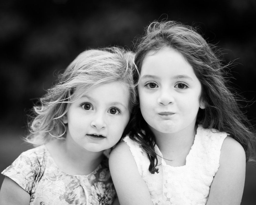 Sister black and white portrait | Children's Photography