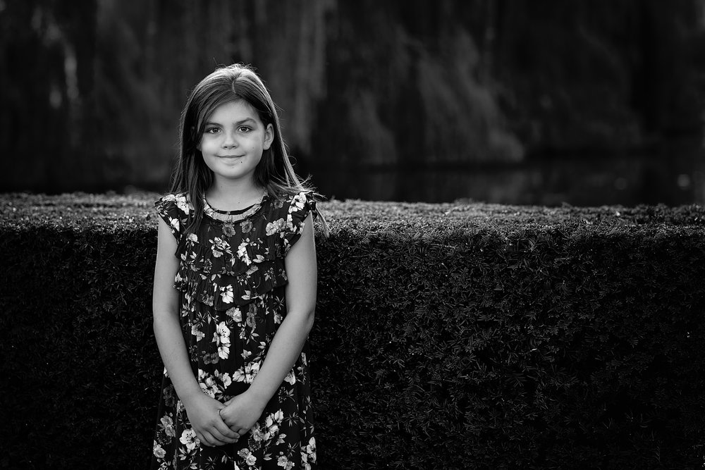 Black and white backlit portrait of young girl | Children's Photography