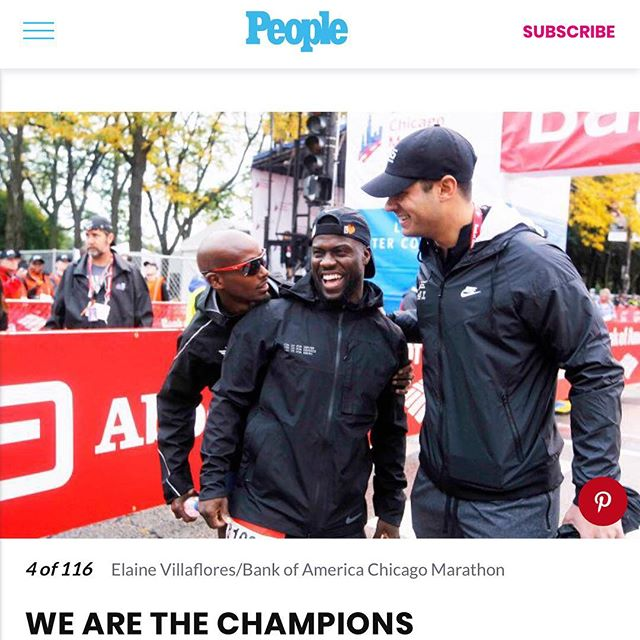 Throwing it back to this past Sunday at the Chicago Marathon and Kevin Hart being featured in People Magazine having a laugh with Mo Farah (2018 marathon champion) before the start of the marathon! Wonder what they were chatting about 🤔 #linkinbio #tbt
