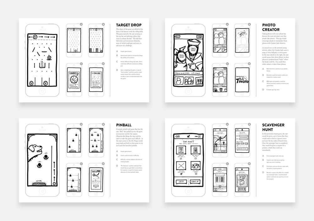 We sketched out a wide variety of game options for the client.