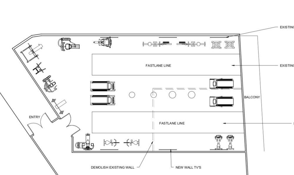 Illustrative floor plan of the new group training room for Wickedbodz.