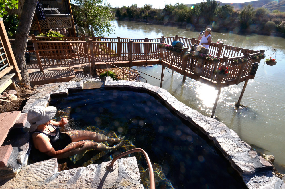 Visitors soak away their cares at one of the many hot springs in Truth or Consequences.  (Albuquerque Journal)