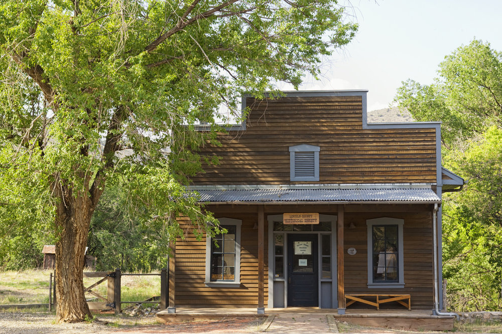Lincoln, New Mexico, United States - June 2, 2012. Old building used by the Lincoln County Historical Society. Lincoln was at the center of the Lincoln County War, 1876-1879, and is the historical home of Billy the Kid.
