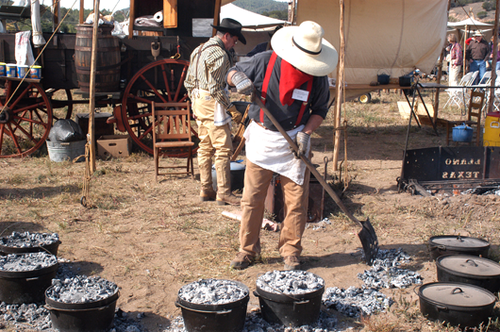 Chuckwagon cook-off at the annual Lincoln County Cowboy Symposium at the Ruidoso Downs Race Track.