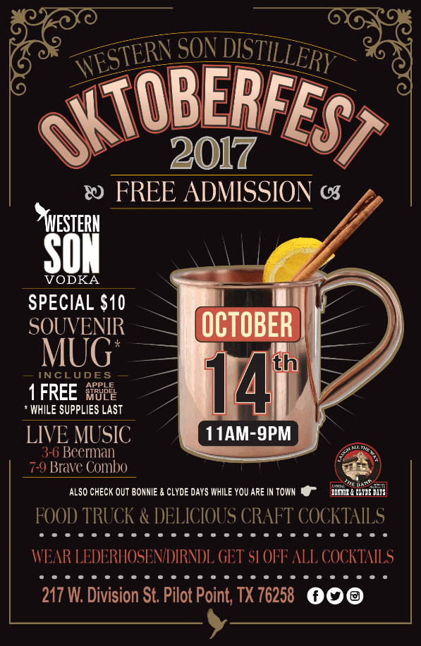 Oktoberfest at the distillery is here with a $10 souvenir mug for you to take home. Hang out with us and wear your lederhosen to get $1 off any cocktail -