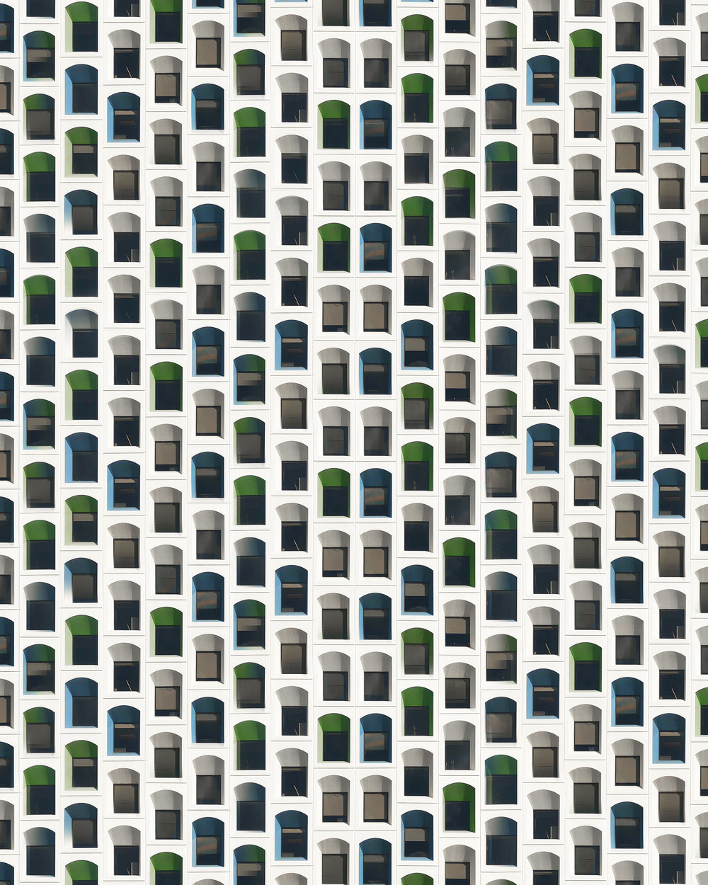 '1024 • Cellular' - 2018 Slight fluctuations are introduced into the patterns of urban facades, allowing the ripple to generate new architectures. The realism of the image's representation provokes the viewer's cognition - attempting to imagine and rationalize the structures and rooms behind the hyperreality.