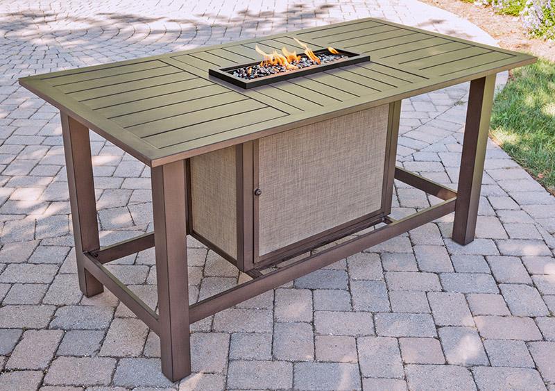 Agio Portland Slat Top Bar Height Fire Pit Table