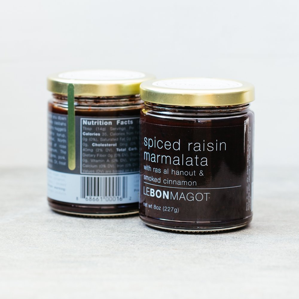 spiced raisin marmalata - with ras al hanout & smoked cinnamonOud-like scent. Pairs well with game, pork, poultry and cheeses or riff on a PB&J staple with feta & pine nuts.Ingredients: raisins, apple cider vinegar, sugar, soy sauce, chili powder, cardamom, cinnamon, cumin, dried rose petals, smoked cinnamon, sea salt, spicesWinner of 2017 sofi™ Gold and 2017 sofi™ Best New Product for Best Jam or Preserve