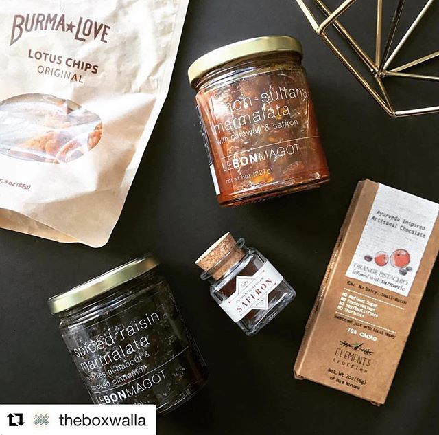 "Looks like an absolutely STELLAR box 🌟🌟🌟#Repost @theboxwalla (@get_repost) ・・・ ""The Boxwalla Fall Food Box features foods & flavors from around the world, like Turkey, North Africa, Afghanistan, India, and Burma/Myanmar! 🍁The first treat is the @elementstruffles' Orange Pistachio Bar with Turmeric Infusion (India). I've had Elements Truffles before and they make my absolute favorite raw chocolate bars!🍫These buttery, raw chocolate bars are sweetened only with raw local honey and each of them is infused with an #Ayurvedic ingredient like turmeric and cardamom. I've tried them all and they are all equally delicious! 🍁Now, what's better to mix sweet with than savory? @lebonmagot's amazing award-winning Spiced Raisin & Lemon Sultana Marmalatas are so flavorful and are each uniquely delicious. The Spiced Raisin Marmalata tastes like tamarind chutney (like the one that you eat with samosas!), but this version is elevated with the addition of the North African spice blend called Ras al Hanout. It is so good! The Lemon Sultana Marmalata (Turkey) is actually more sweet than savory (IMO), but the lemon, caraway, zaftig, and saffron work harmoniously together and becomes a treat for your tastebuds. The Marmalatas pair well with many meats, but I can't imagine eating them with anything other than a variety of cheeses - that is like heaven to me! 🍁The next treat in the Fall Food Box is @rumi_spice's Afghan Rumi Saffron (this also happens to be the saffron in the Lemon Sultana Marmalata!). Rumi Spice sources some of the best saffron in the world, and is even used in Michelin star restaurants from the likes of Eric Ripert and Daniel Boulud. I haven't figured out what to make with it yet, but I am excited to cook with it nonetheless! 🍁The last (but not least) treat is Burma Superstar's Lotus Chips. I grew up eating lotus root, but never in a fried chip form - but let me tell you they are so freaking delicious and addictive! As you can see in my pic, I've devoured all but a few chips just so I could take the picture - ha! So I will definitely be ordering more of the delectable chips. "" - Yenny, @ecochicbeauty."