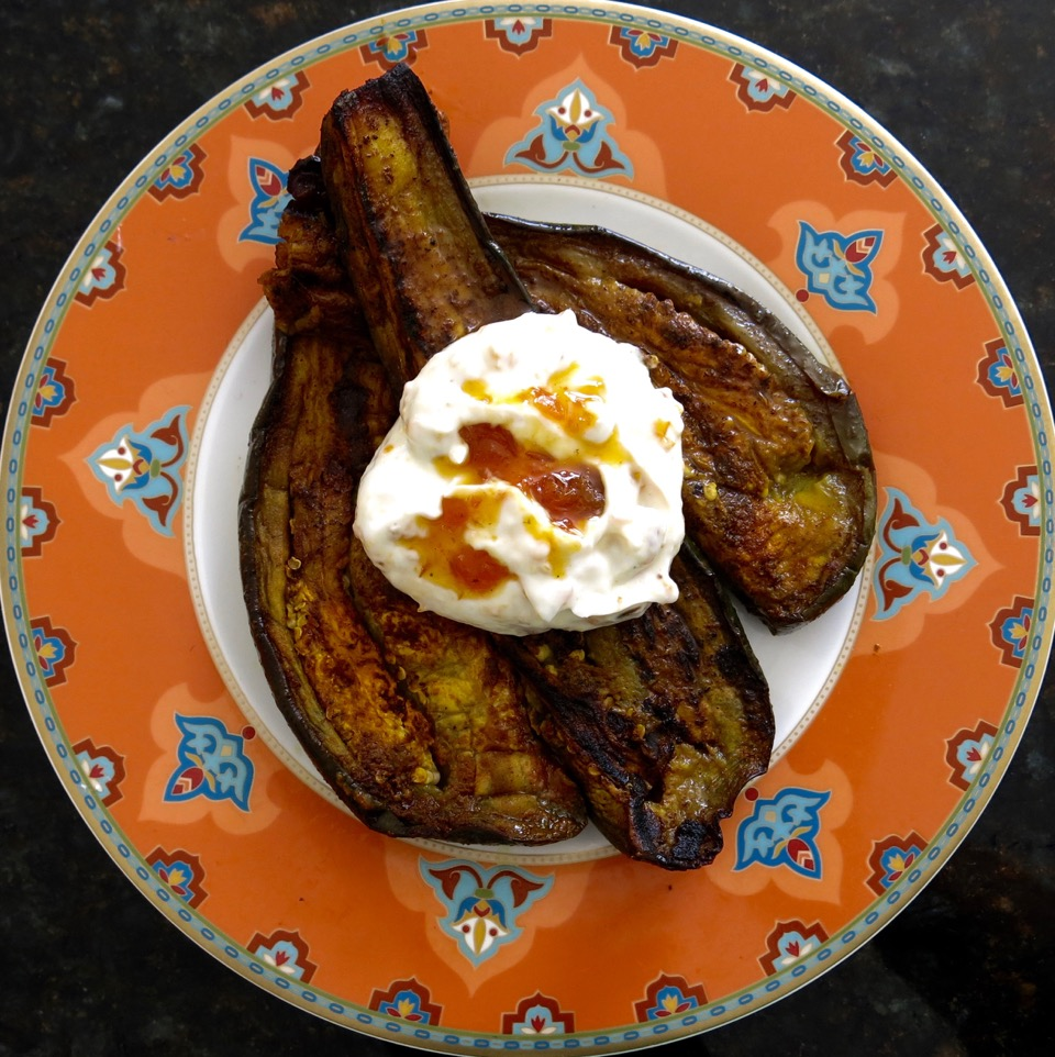 spicy aubergine topped with saffron-spiced yogurt