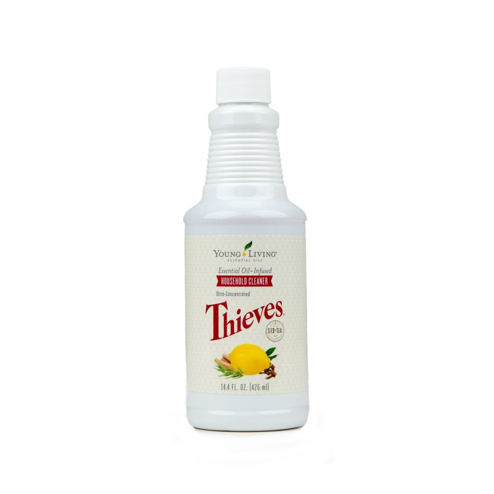 THIEVES HOUSEHOLD CLEANER    One or two capfuls of this cleaner mixed with water in a spray bottle is all you need! Cleans all surfaces and windows without streaks and without chemicals.   Click here   to read more extensively on this product.