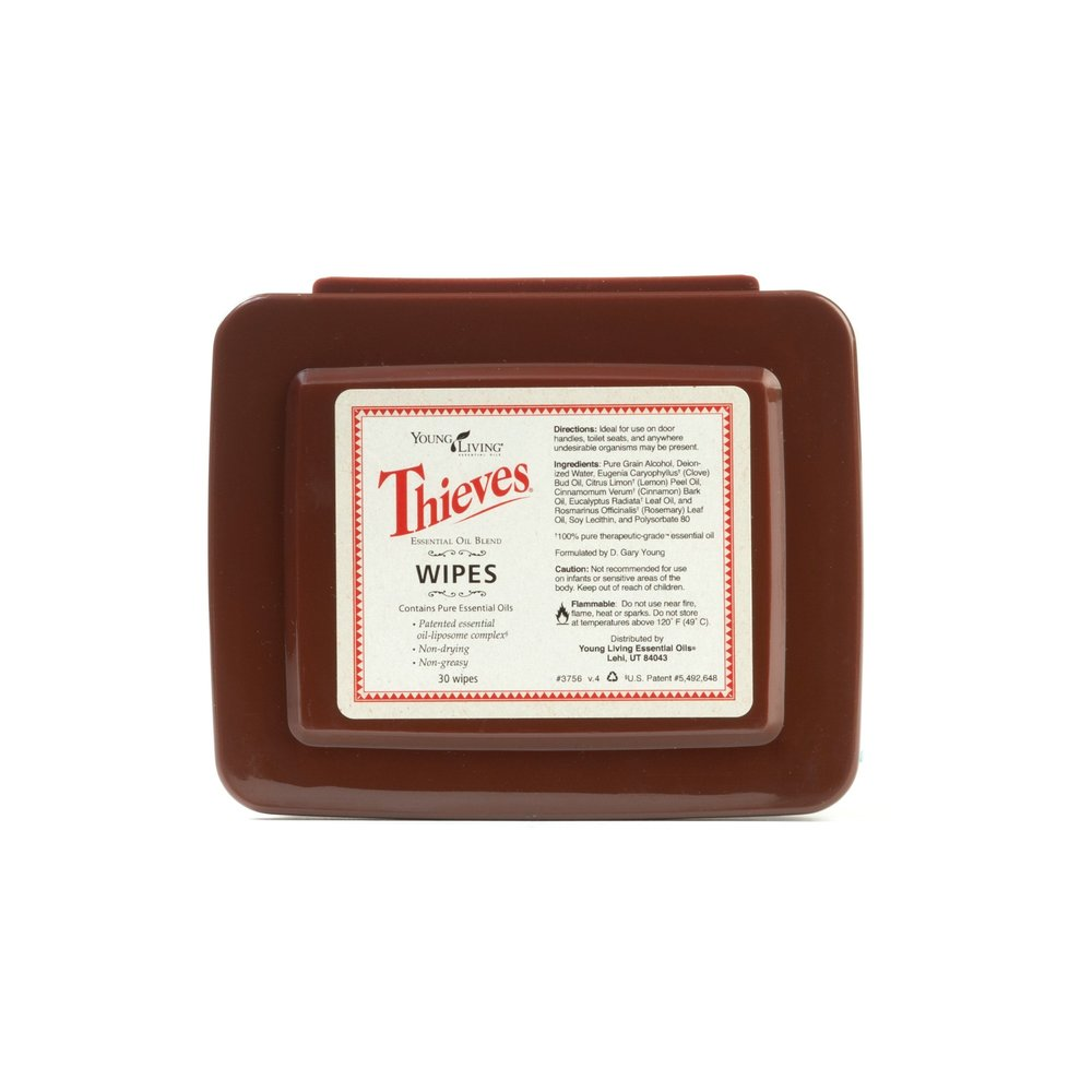 THIEVES WIPES    This portable container filled with Thieves-soaked wipes is extremely convenient to wipe down surfaces at home or on the go. Many use these to wipe their hands, too!   Click here   to read more extensively on this product.