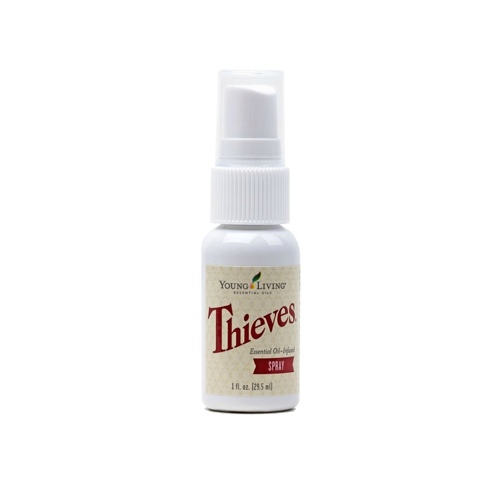 THIEVES SPRAY    This portable spray is perfect to take with you on the go. Spray this on your grocery cart, airplane seat, bathroom door handle, or restaurant high chair. Cleans without chemicals!   Click here   to read more extensively on this product.
