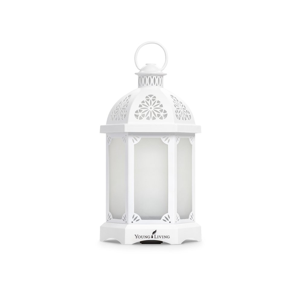 LANTERN DIFFUSER    This diffuser is designed to be an elegant centerpiece or a beautiful statement piece in your home. Comes in two colors, white and charcoal. Offers longer run times, multiple diffusion settings, along with 11 LED colored light options, including an alluring candle-like flicker mode. Comes with a 5ml bottle of Tangerine and Peppermint essential oils.   Click here   to learn more about this product.