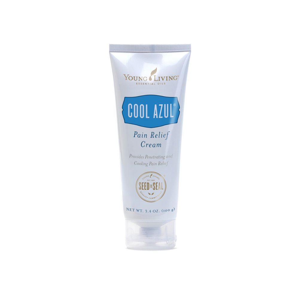 COOL AZUL PAIN RELIEF CREAM    This cream provides cooling relief from minor muscle and joint aches, arthritis, strains, bruises, and sprains. It combines the power of Wintergreen essential oil and the exclusive Cool Azul essential oil blend. The pain-relieving benefits come from methyl salicylate, found in Wintergreen, which helps alleviate pain deep in the muscles and joints, and natural menthol found in Peppermint provides a cooling effect.   Click here   to learn more about this product.