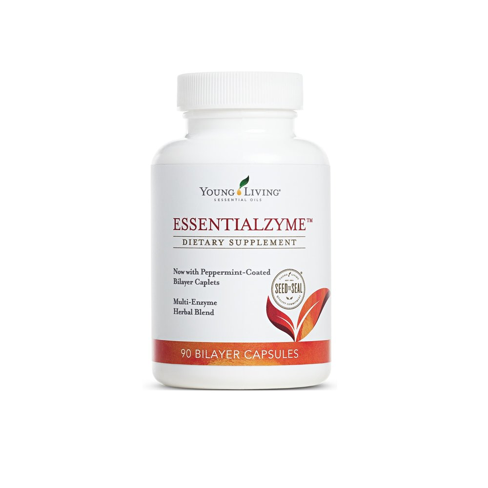 ESSENTIALZYME    Essentialzyme™ is your basic everyday enzyme that cleanses the digestive tract so your body can absorb vitamins and minerals much more efficiently. It's a bilayered, multi-enzyme complex caplet specially formulated to support and balance digestive health and to stimulate overall enzyme activity to combat the modern diet. It contains tarragon, peppermint, anise, fennel, and clove essential oils to improve overall enzyme activity, and support healthy pancreatic function. Great for animals as well.   Click here   to learn more about this product.