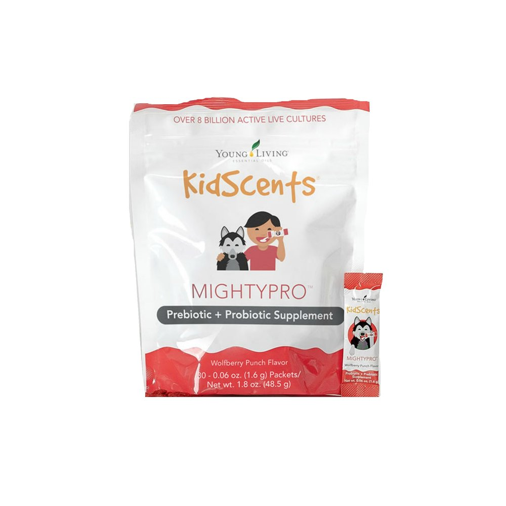 KIDSCENTS MIGHTYPRO    A healthy gut helps maintain a healthy immune system! Kidscents MightyPro is a blend of prebiotics and probiotics in a supplement specially formulated for children (but great for adults too). Packaged in easy, one-dose packets that can be taken almost anywhere you go, this supplement features over 8 billion active, live cultures to support digestive and immune health. The packets can be added to cold food and drinks for easy consumption, or can be consumed straight from the packet. Contains Ningxia wolfberry fiber, which is a naturally occurring prebiotic.   Click here   to learn more about this product.