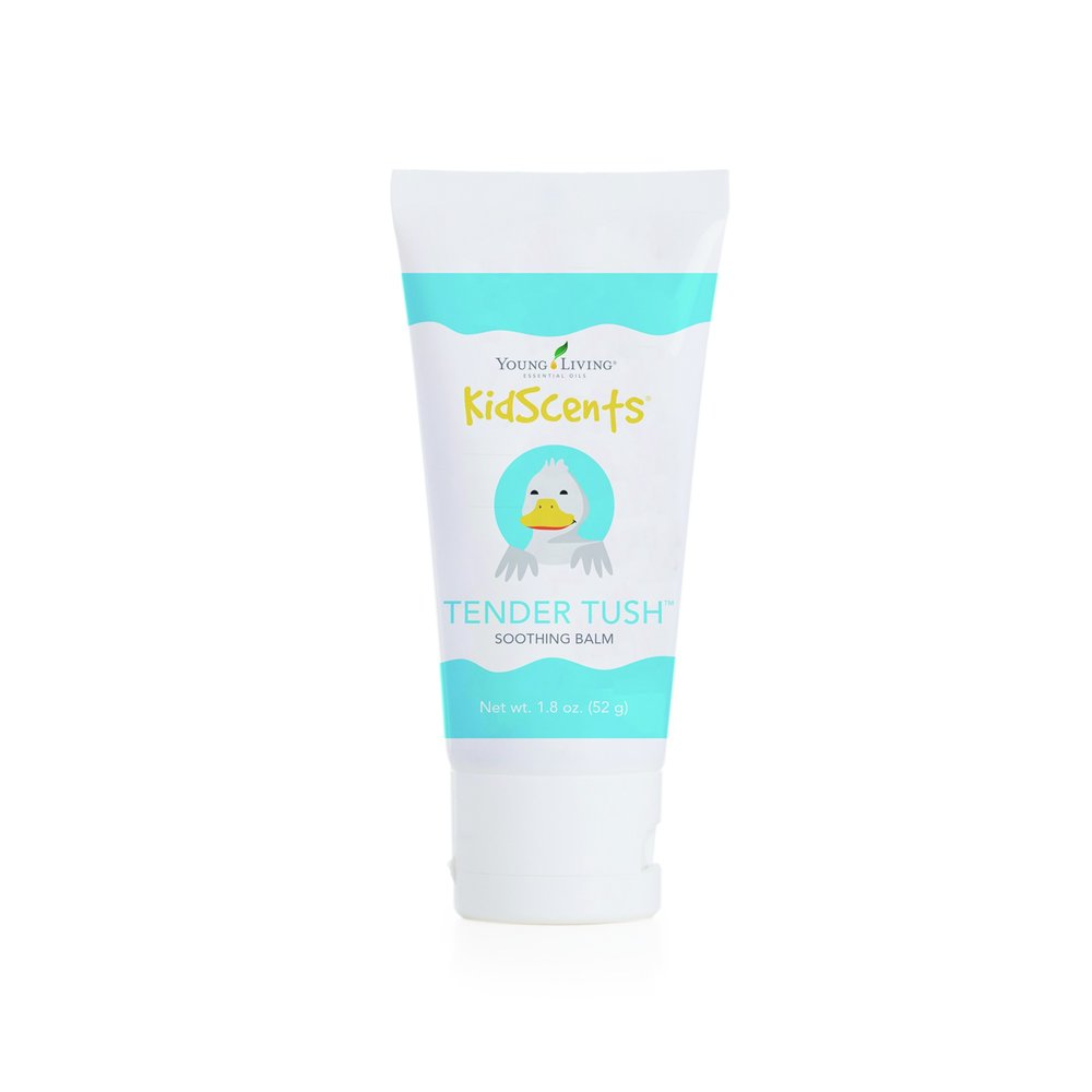 KIDSCENTS TENDER TUSH    Soothe delicate skin with Young Living's mild and gentle baby balm. Tender Tush baby ointment, part of Young Living's KidScents line, is an essential oil balm formulated with natural vegetable oils and pure essential oils—including Frankincense, Lavender, and Ylang Ylang—to moisturize and nourish dry or occasionally irritated skin. Made without synthetic perfumes, mineral oils, artificial colorings, or harsh chemicals, this mild essential oil moisturizer promotes healthy skin while soothing sensitive skin. Many have used this ointment during diaper changes.   Click here   to learn more about this product.