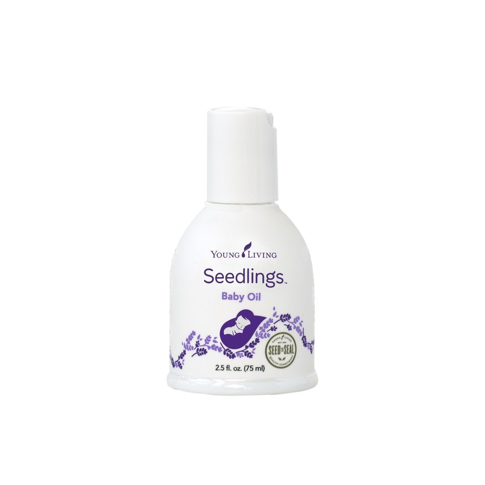 SEEDLINGS BABY OIL    Young Living's Seedlings Baby Oil is formulated specially for your infant's delicate skin. This mild, gentle product contains 100 percent pure essential oils diluted to an appropriate strength; and its naturally derived, plant-based formula is lightly scented with our Calm blend of Lavender, Coriander, Bergamot, Ylang Ylang, and Geranium. This non-greasy formula moisturizes, soothes, and nourishes baby's skin. It absorbs smoothly; provides a light, calm aroma; and promotes a relaxing environment. Formulated without mineral oil, it is vegan friendly and suitable for everyday use.   Click here   to learn more about this product.
