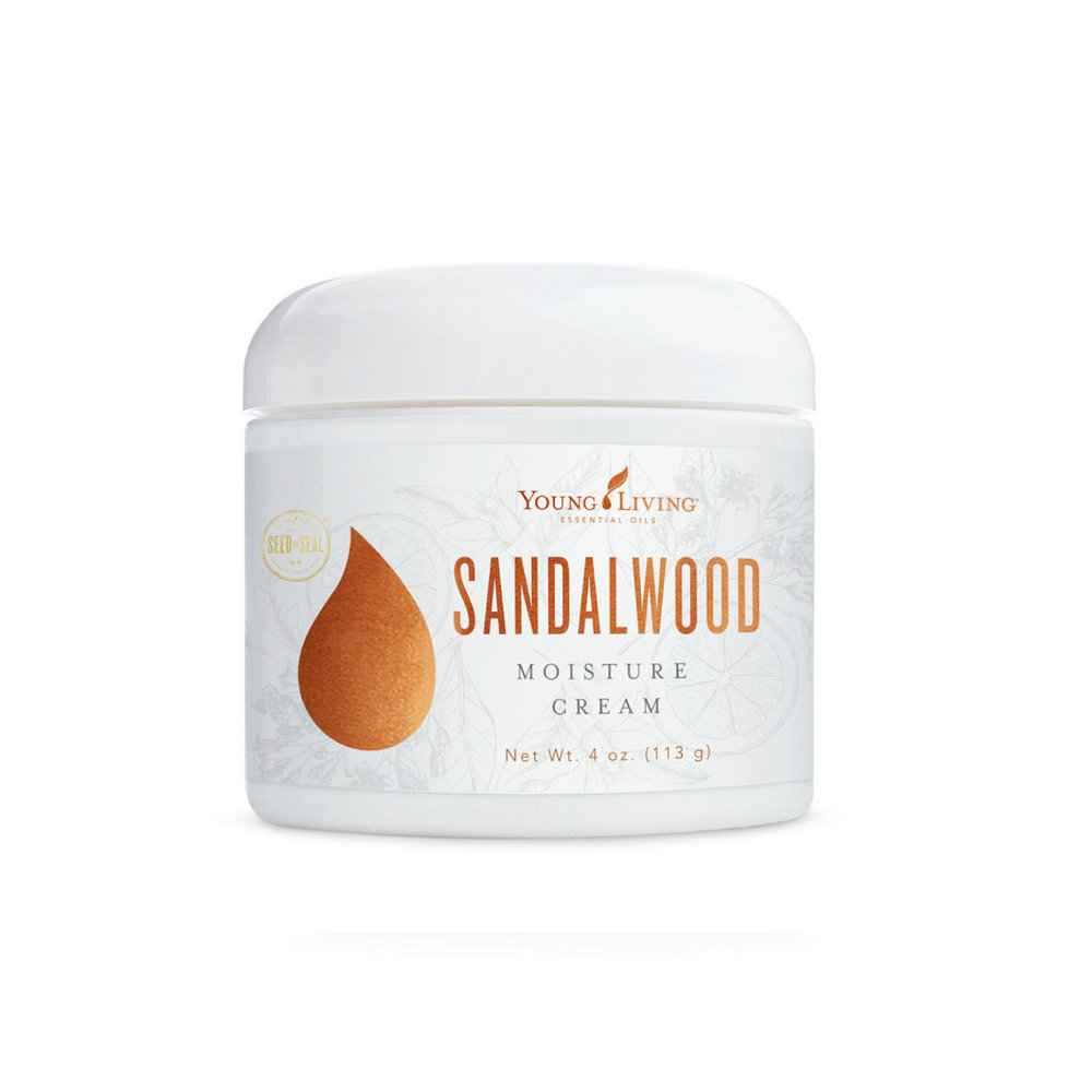 SANDALWOOD MOISTURE CREAM    Sandalwood Moisture Cream is a premium hydrating moisturizer infused with pure Young Living essential oils. It's great for bringing youthfulness to the skin, reduce impurities, soothe sun exposure, and intensely moisturize the skin.   Click here   to learn more about this product.