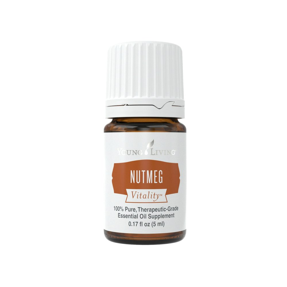 NUTMEG VITALITY    Whether it's baked into spice cake or blended into tea, nutmeg offers a warm, nostalgic taste and aroma. Steam distilled from the fruit and seeds of the tree, Nutmeg Vitality™ essential oil has a sweet and distinctly spicy taste, making it both a powerful and versatile essential oil. Nutmeg Vitality™ is particularly good for enhancing the flavor of winter produce such as acorn squash, sweet potatoes, and pumpkin.   Click here   to learn more about this product.