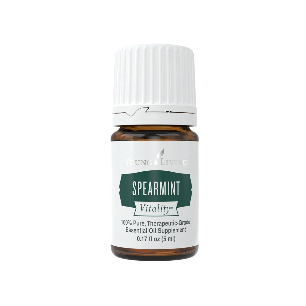 SPEARMINT VITALITY    Spearmint Vitality™ essential oil is treasured for its unique minty flavor, as well as its ability to help calm tummies and support normal digestion as a dietary supplement. It can add a cooling effect to foods that is both pleasant and beneficial. With a distinctly sweeter, softer mint taste than Peppermint Vitality, Spearmint Vitality oil is perfect for infusing beverages.   Click here   to learn more about this product.