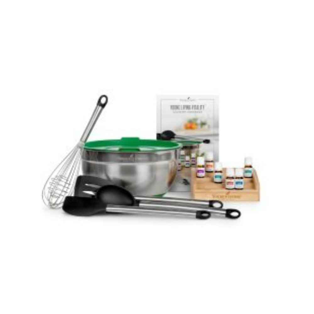 VITALITY CULINARY KIT    Discover bright and diverse flavors with the Young Living Vitality Culinary Kit! This collection is your passport to a world of flavor, with six of our most popular Vitality oils. Start infusing your recipes with the taste of citrus, floral, mint, and herbal hardiness. The kit also features a collection of Young Living-branded kitchen utensils and tools, so your kitchen transformation can truly be complete! The Vitality Culinary Cookbook features recipes for every occasion, including Thai-style lettuce wraps, cheesy sweet potato bites, blueberry-lavender ice cream, and a host of delicious dishes and tantalizing treats.   Click here   to learn more about this set.