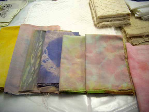 Cotton and Silk fabrics that have been dyed with natural and/or synthetic dyes.