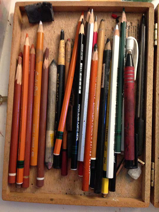 Various types of pencils: graphite, charcoal, conte, marks it all, etc.