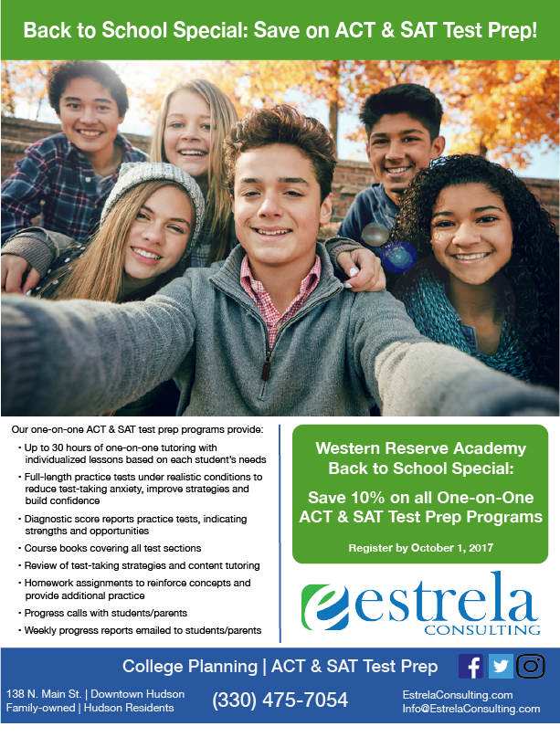 Western Reserve Academy Back to School Special
