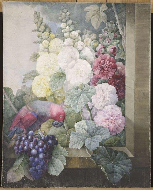 10.-Pierre-Joseph-RedoutÇ-1759-1840-Fleurs-roses-trÇmiäres-raisins-et-le-lori-cramoisi-830x1024.jpg