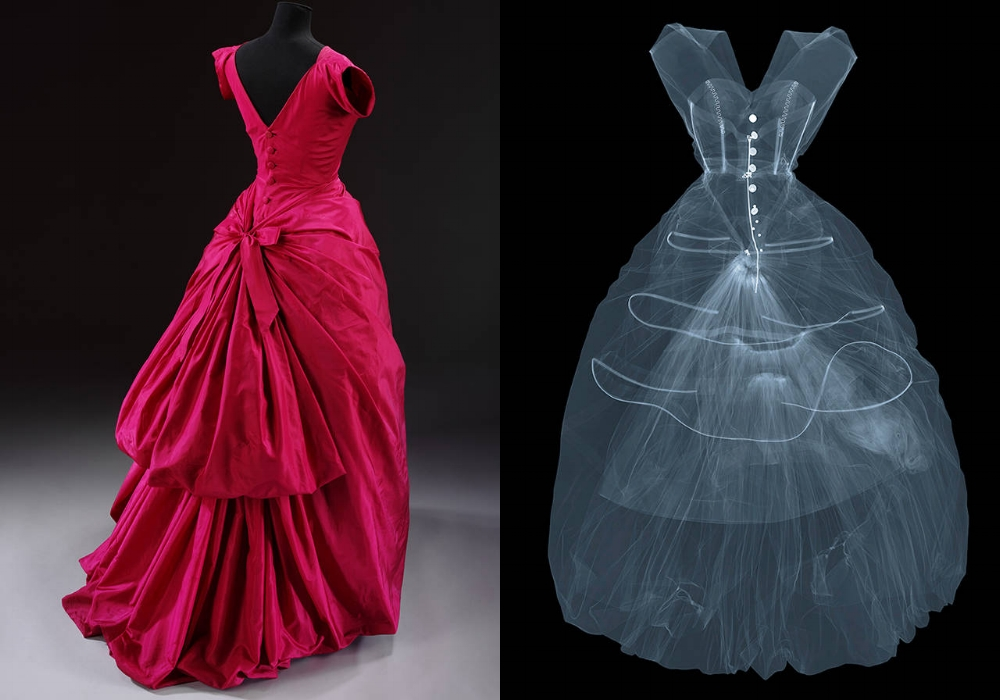X-ray photograph of silk taffeta evening dress by Cristóbal Balenciaga, 1955, Paris, France. X-ray by Nick Veasey, 2016. © Nick Veasey