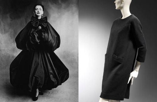 Left to right: Model Wearing Balenciaga Evening Dress and Cape, photograph by Irving Penn for Vogue, 1950. © Condé Nast. Sack dress, Cristóbal Balenciaga, 1957, Paris. Museum no. T.90-1973. © Victoria and Albert Museum, London