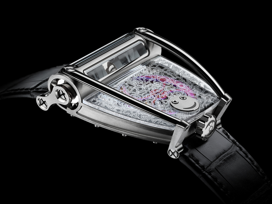 HOROLOGICAL MACHINE N°8 ONLY WATCH: ngraved and metallised with a whimsical drawing created by the talented 15-year old Cassandra. Visible under the doodle, the automatic HM8 engine features a unique purple winding rotor.