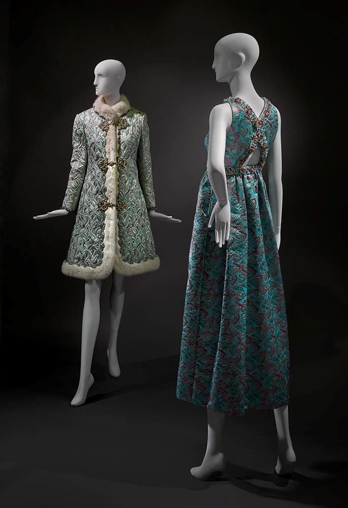 Oscar de la Renta, Coat and Dress Ensemble, fall 1968, novelty weave fabric, fur, and brilliants, the Museum of Fine Arts,.jpg