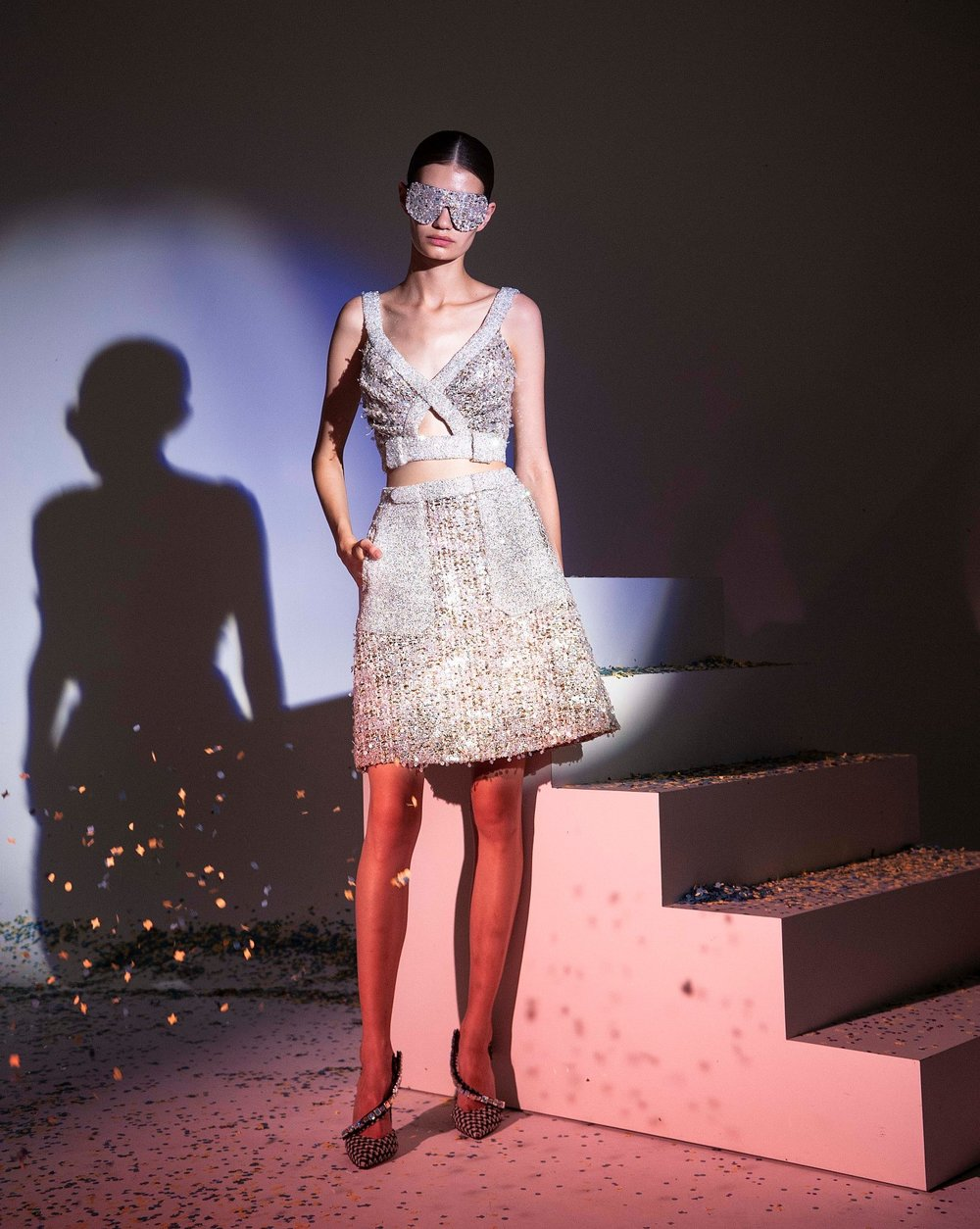 FW19-3 Iridescent Sequins Tweed Short Dress With Highlighted Swarovski Pockets And Neckline And Tweed Sunglasses .jpg