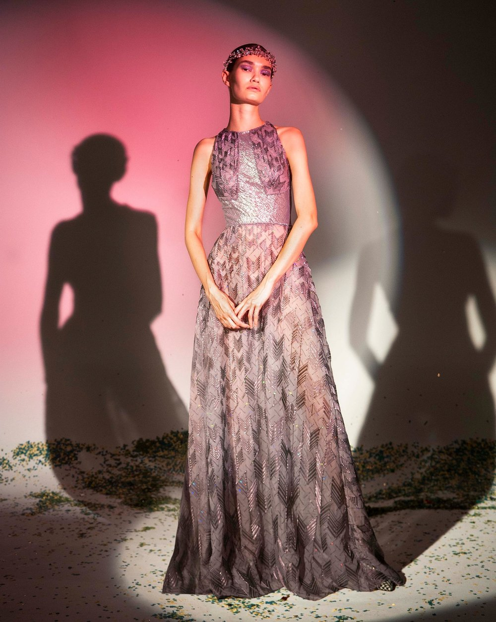 FW19-15 Lilac Silk Chiffon Gown Embellished With Silicone Plaids And Holographic Sequins .jpg