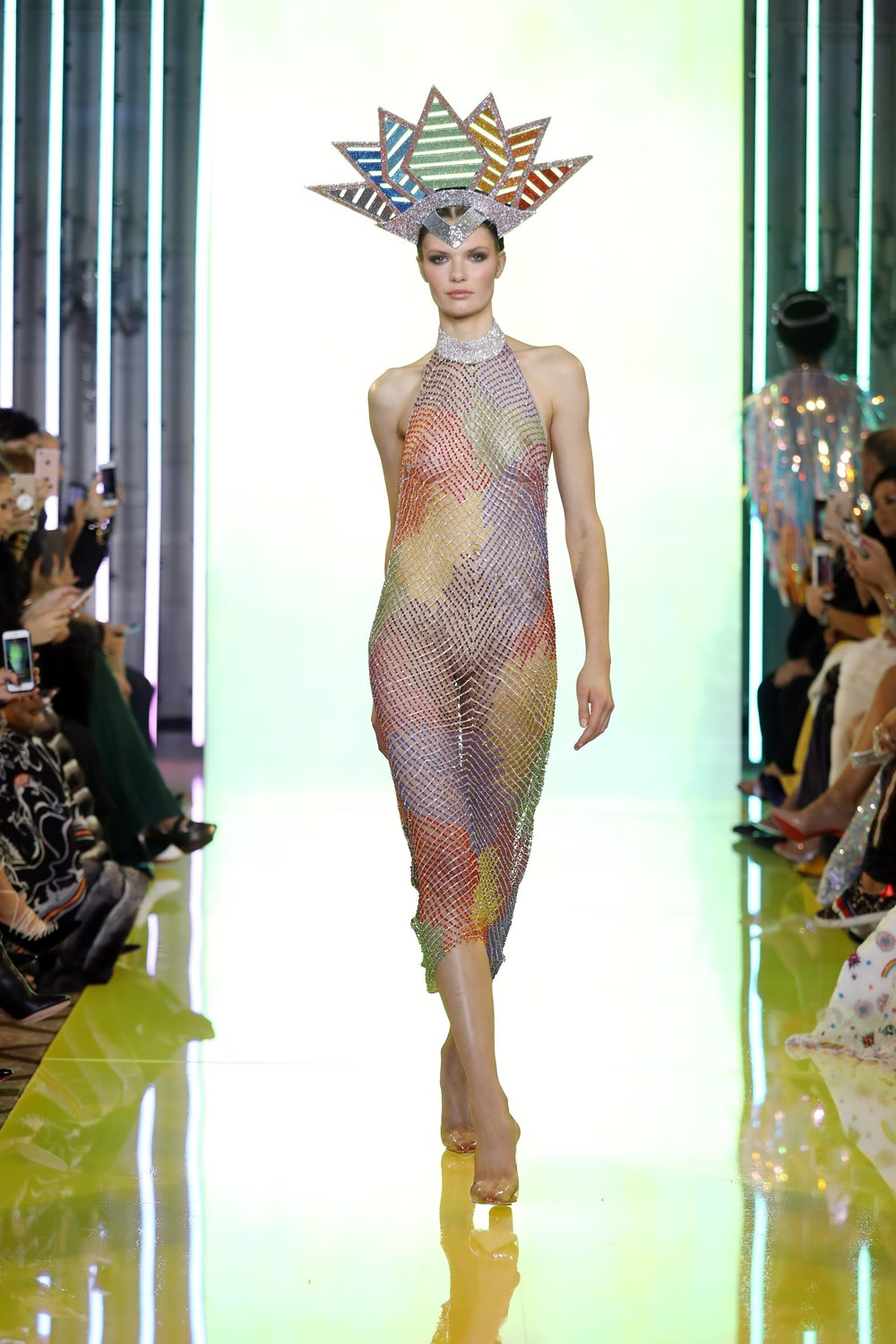 SS19-3 Rainbow Colored Fishnet Dress Embellished Wth Swarovski Crystals Featuring A Highlighted Neckline Of Silver Crystals  .jpg