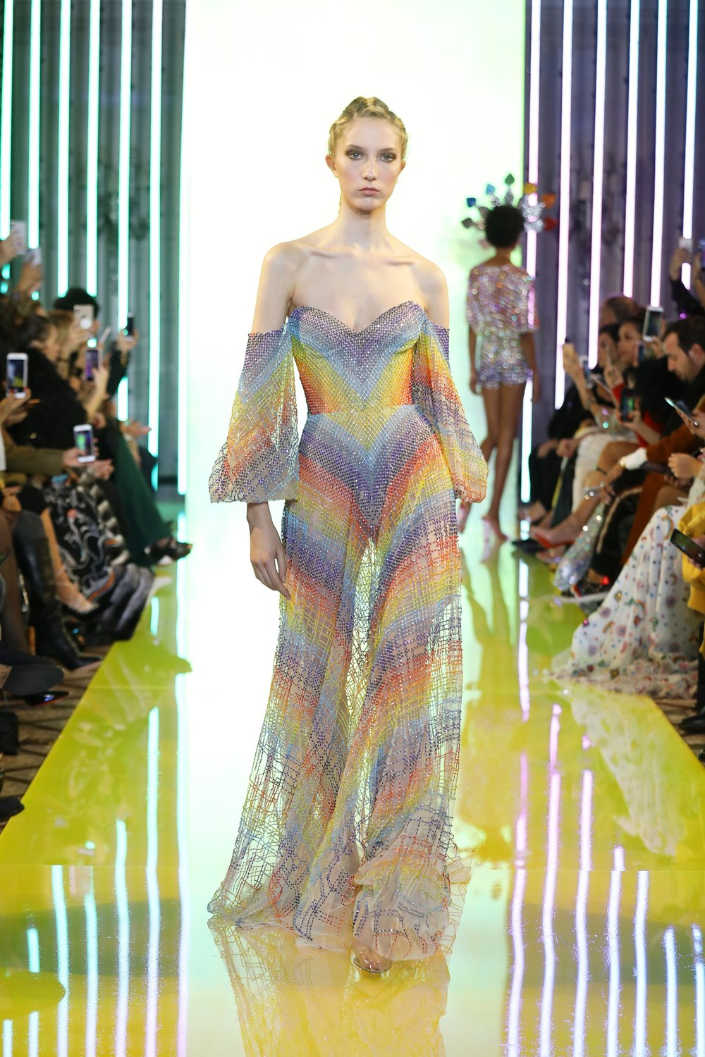SS19-5 Rainbow Colored See-Through Dress Embellished With Beads And Swarovski Crystals, Featuring Puffy Sleeves .jpg